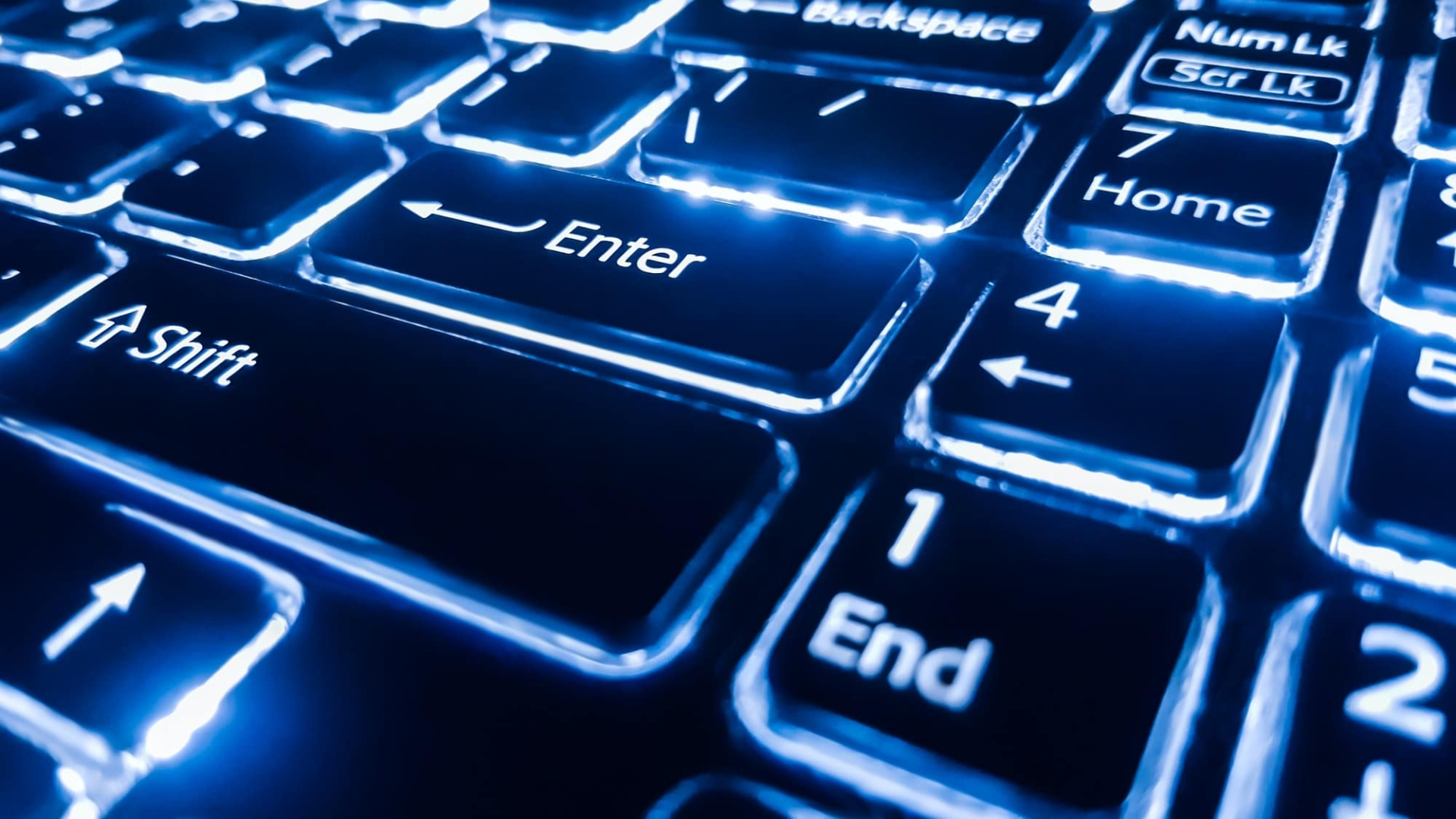 Neon keyboard with enter button. Focus on the .